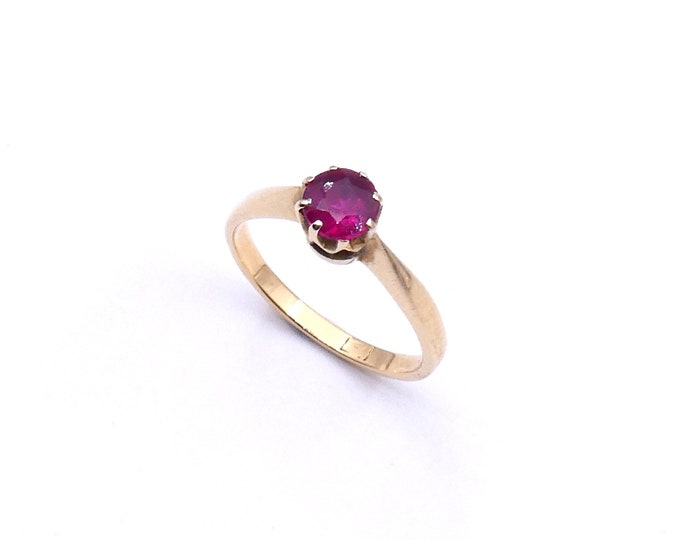 Vintage ruby solitaire ring, single ruby ring set in 18kt gold, for baby finger, small ring size 4, July birthstone ring gift.