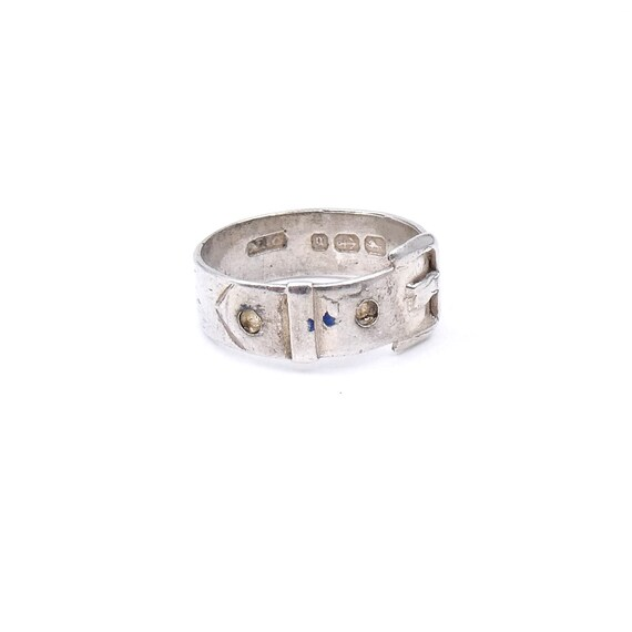Antique silver buckle ring from 1881, a genuine an