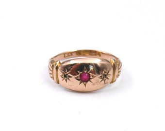 Antique gypsy ring in 9kt rose gold , a vintage rose gold gypsy ring with diamond accents, from Birmingham England.