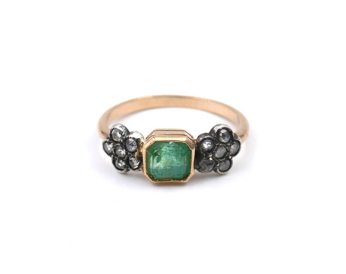 Antique style emerald and rose cut diamond ring, emerald and diamond daisy ring.