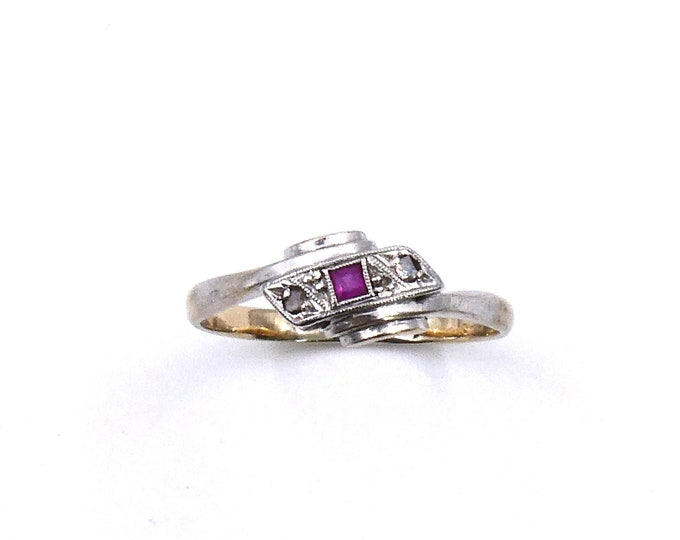 Art Deco ruby diamond ring, square ruby ring with old cut diamonds, a vintage ruby ring, ideal July birthstone ring.