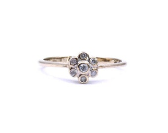 Vintage diamond daisy ring, a petite diamond daisy cluster ring, lovely vintage promise ring or ring gift.