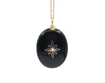 Antique onyx photo locket, a victorian locket in onyx with a gold and enamel star set with a pearl, a stunning antique piece.