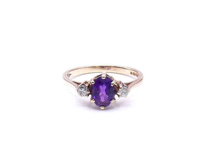 Vintage amethyst ring with diamonds, pretty vintage gold ring with a vibrant purple amethyst, February birthstone ring.