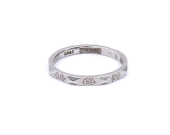 Vintage platinum hexagon band with engraved roses, stunning vintage engraved platinum ring.