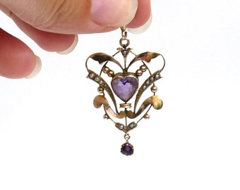 Antique pendant with an amethyst heart, and seed pearls, Edwardian style openwork pendant in gold.