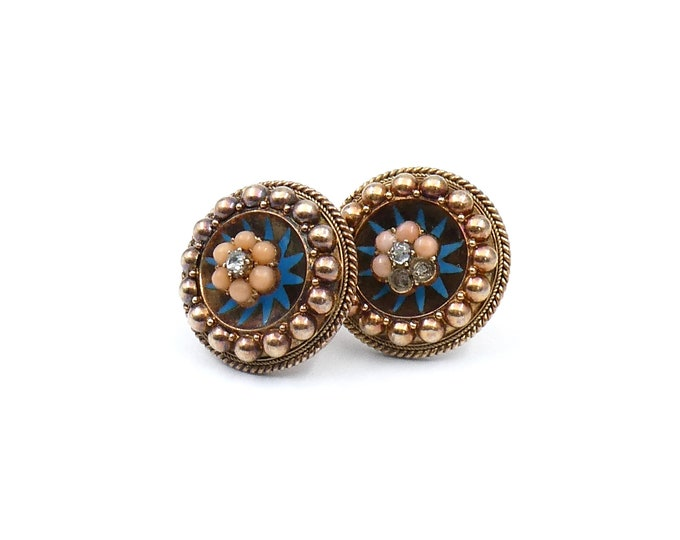 Vintage earrings with coral, diamonds and a radiating blue painted/enamel pattern, unique vintage diamond set earrings.