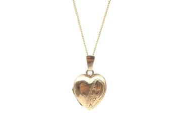 Small vintage 9kt gold heart locket, small engraved gold heart pendant hallmarked.