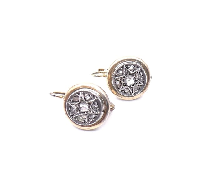 Vintage diamond star earrings, exquisite small round gold platinum earrings with a star, set with old rough cut diamonds.
