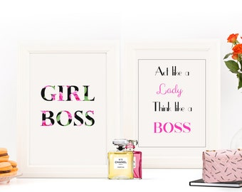 GIRL BOSS | Boss Lady | Think Like a Lady Act Like A Boss | Art Print | Printable Home Decor | Typography | Wall Art | Fashion Print | Quote