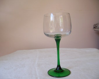 Forest Green Stemmed Crystal Water Glass