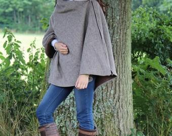 PRICE REDUCTION ~Tweed Cape in Light brown herringbone wool/tweed