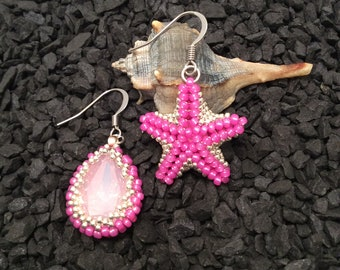 Beach Party Collection-Fuchsia Starfish earrings
