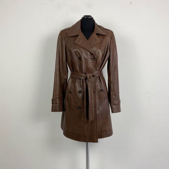 Brown leather trench coat, double breasted trench