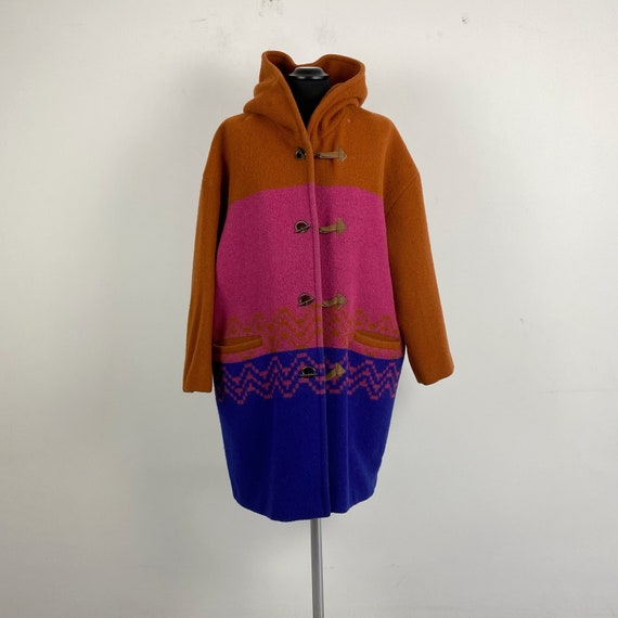90s vintage women duffle coat, color block coat
