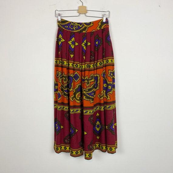 90s BYBLOS long wool skirt, pleated midi skirt, ma
