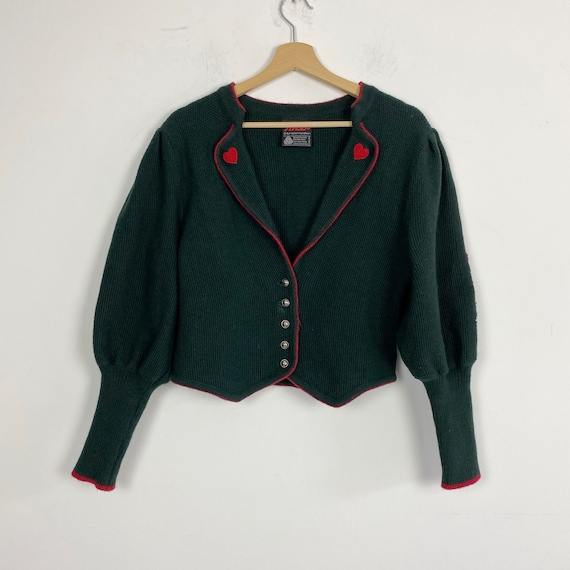 Vintage knit floral embroidered wool cardigan, gre
