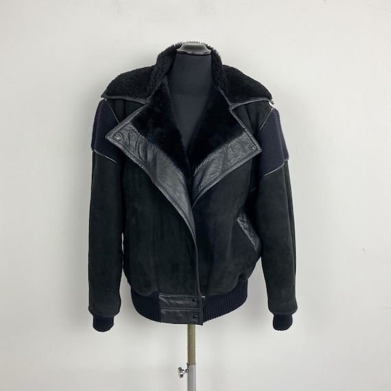 80s 90s shearling jacket, black shearling jacket,