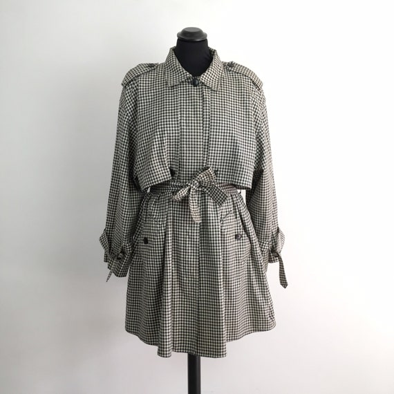 Vintage women trench, belted trench, vichy clothin