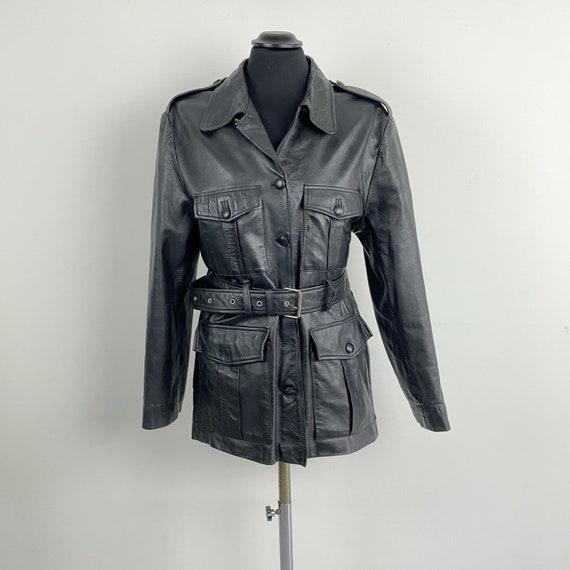 Vintage black leather jacket with belt