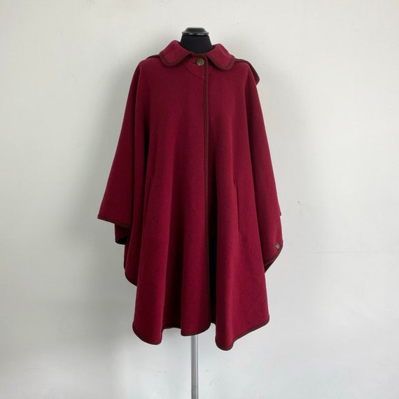 Vintage wool cape coat, burgundy red cape