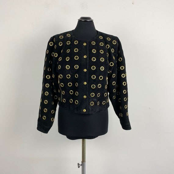 80s 90s vintage suede leather jacket, short leathe