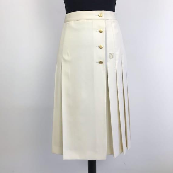 90s vintage Valentino pleated white skirt, wrap sk