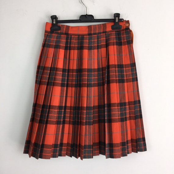Vintage tartan wool pleated skirt, pleat skirt, gr