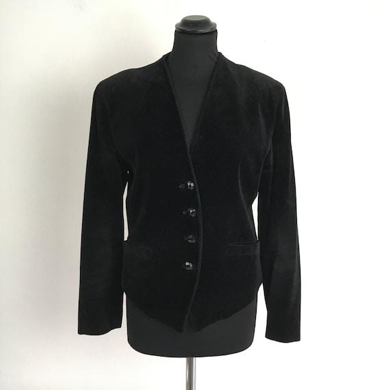 90s vintage velvet black jacket, velvet short jack