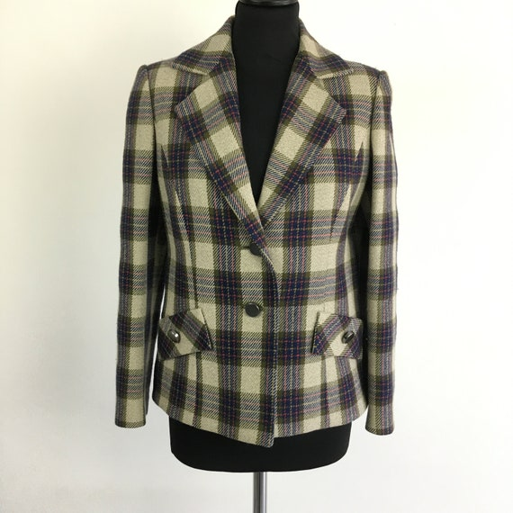 90s vintage plaid wool blazer