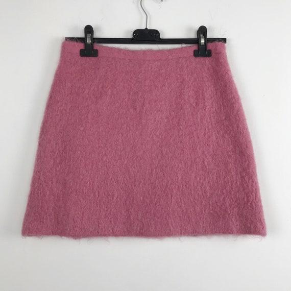 90s Kenzo vintage pink skirt, mini wool skirt, a l