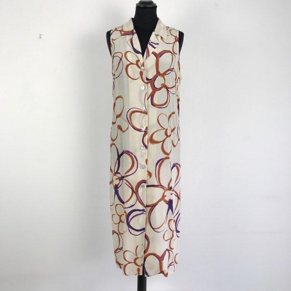 90s vintage floral silk dress, silk botton dress,