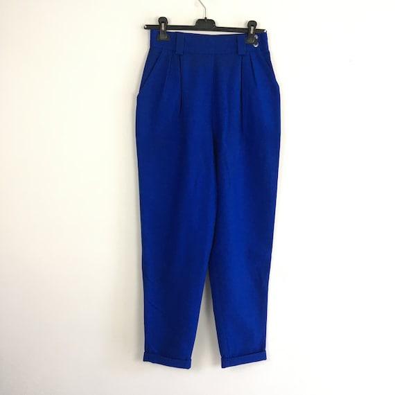 90s vintage high waist blue wool pants, high waist