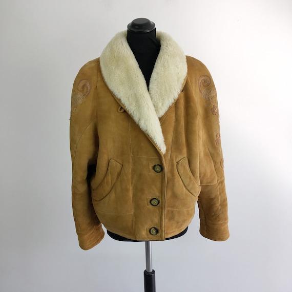 90s vintage sheepskin jacket, sheepskin women jack