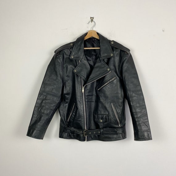 90s vintage biker leather jacket
