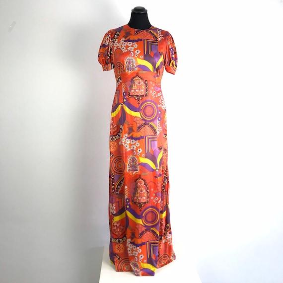 70s vintage psychedelic dress, vintage print dress