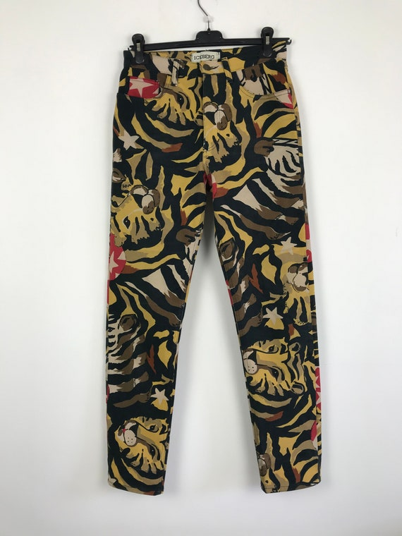 90s vintage Iceberg leopard print pants, designer… - image 1