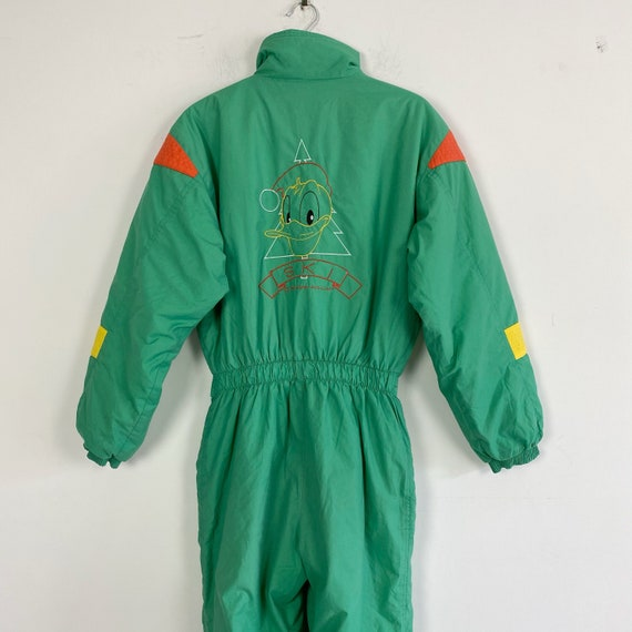 80s 90s vintage green ski suit with Donald Duck, s