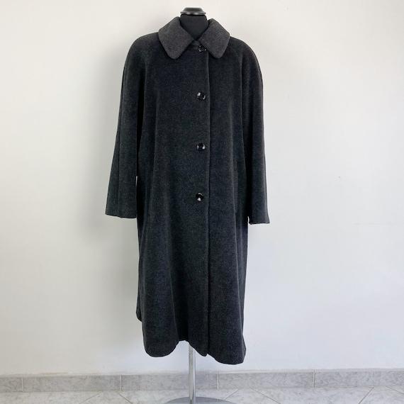 90s vintage grey wool long coat, maxi coat, gray c