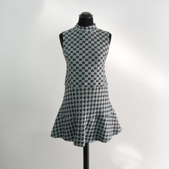 60s vintage mod mini dress, 70s mod dress, short m