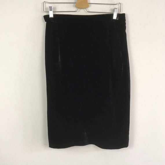 Vintage Ungaro black velvet skirt, vintage pencil
