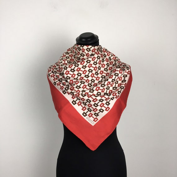 Gucci vintage silk scarf with horsebit print