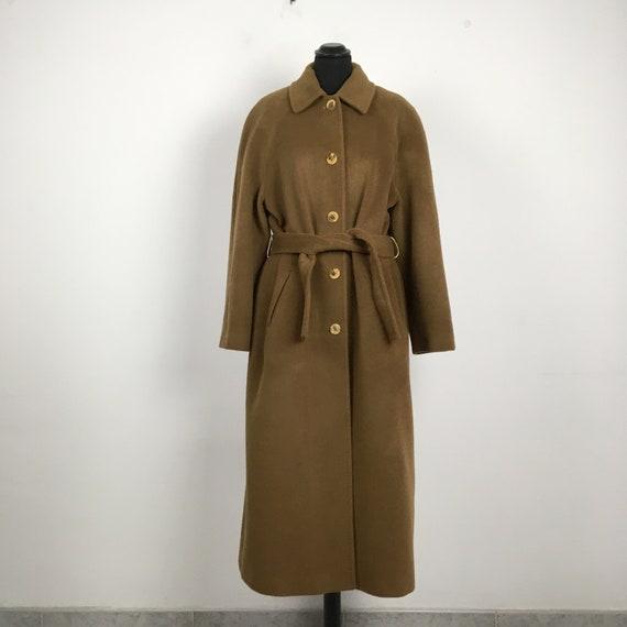 90s vintage camel wool coat, light brown wool coat