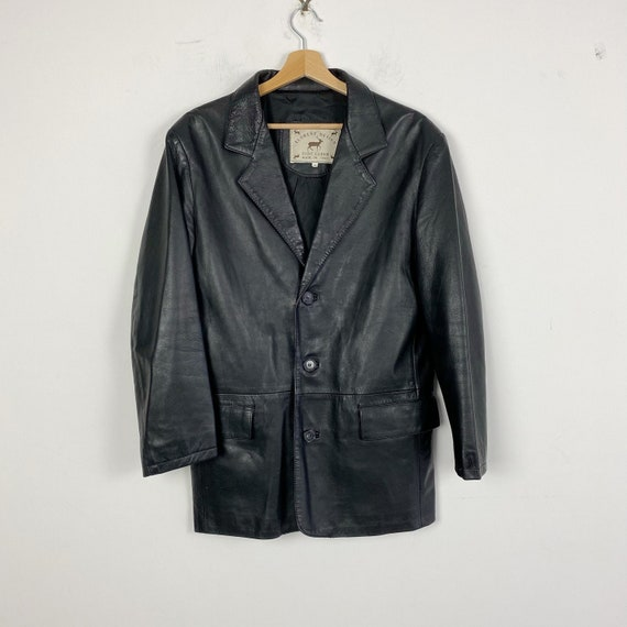 90s vintage black leather blazer, unisex genuine l