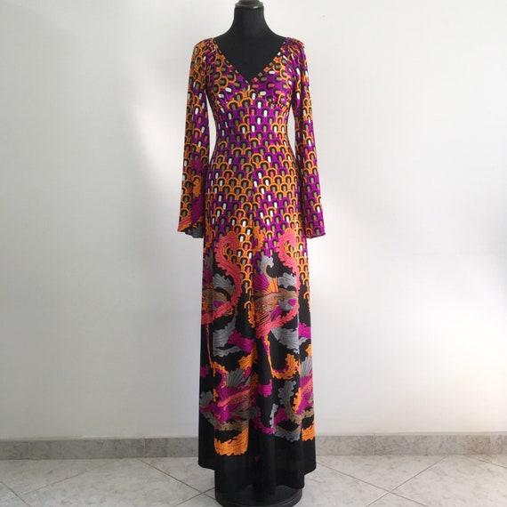 70s vintage dress, full length dress, 70s maxi dre