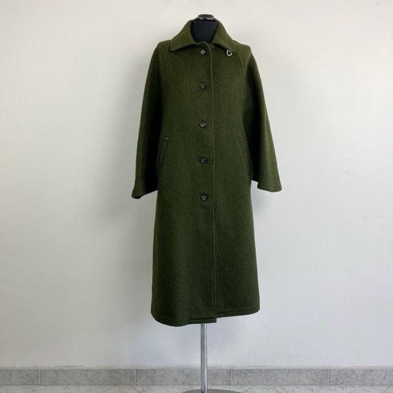 90s green wool cape coat, cape long coat, green wo