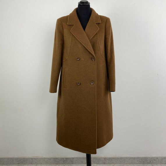 90s vintage double breasted camel coat, classic co