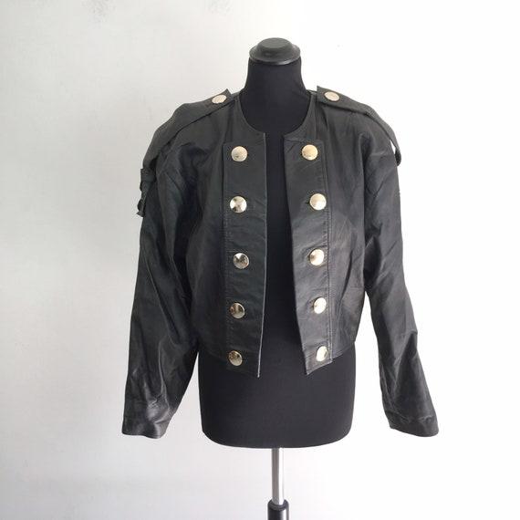 90s vintage women leather crop jacket