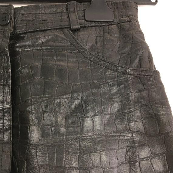 Vintage leather skirt, genuine leather mini skirt… - image 4