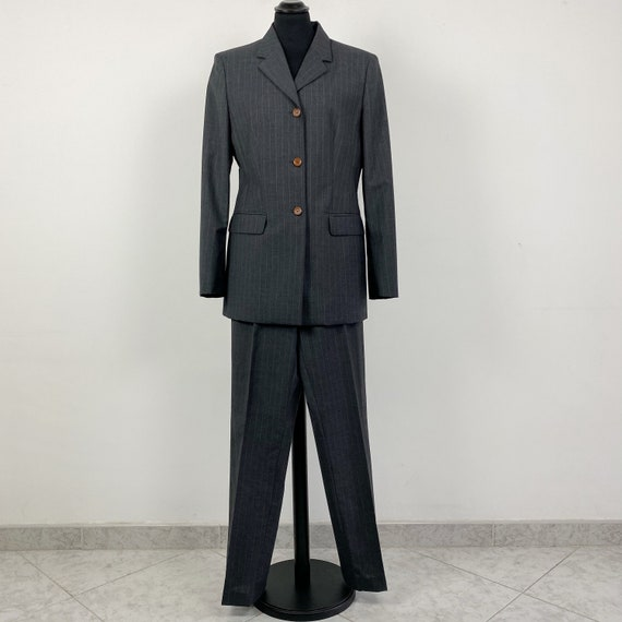 90s vintage pinstripe wool suit pants, grey women
